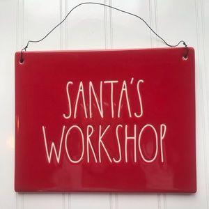 Rae Dunn LL Santa's Workshop Red Sign / Plaque